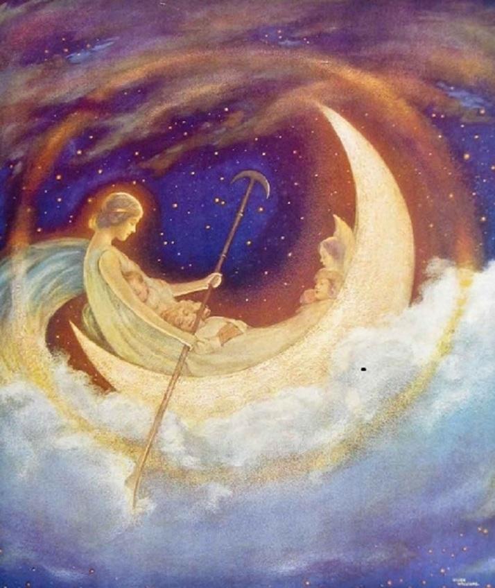 Hugh Williams La luna en bote hacia el país de los sueños
